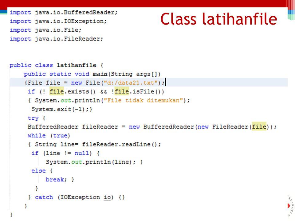 Function bacafile() void bacafile() {File file = new File( d:/mahasiswa.txt ); if (.