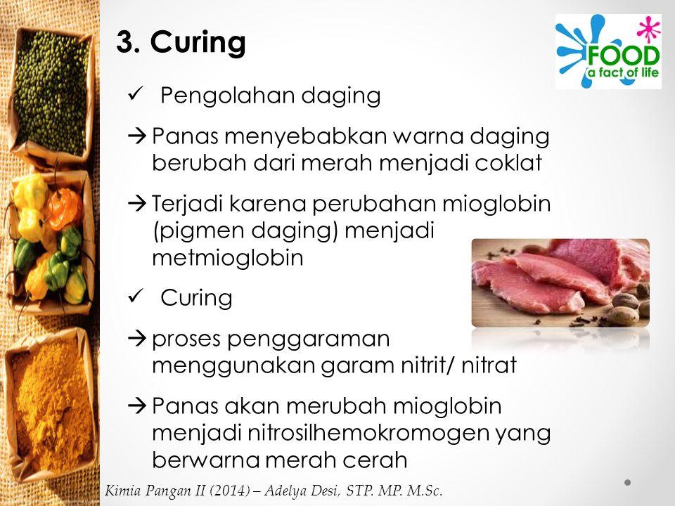 3. Curing Pengolahan daging  Panas menyebabkan warna daging berubah dari merah menjadi coklat  Terjadi karena perubahan mioglobin (pigmen daging) me