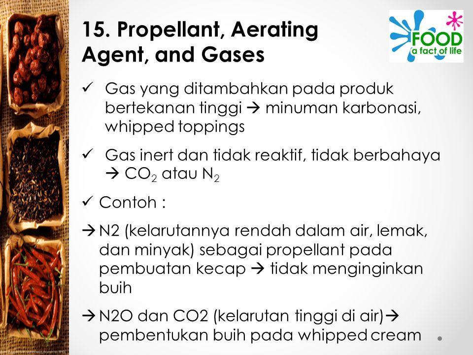15. Propellant, Aerating Agent, and Gases Gas yang ditambahkan pada produk bertekanan tinggi  minuman karbonasi, whipped toppings Gas inert dan tidak