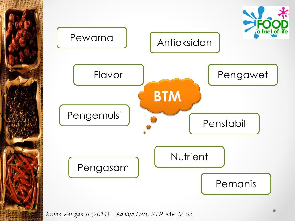 Tujuan Penggunaan BTM Meningkatkan penyimpanan Meningkatkan kesehatan Membuat makanan lebih menarik Memperlancar proses pengolahan pengawet Kimia Pangan II (2014) – Adelya Desi, STP.