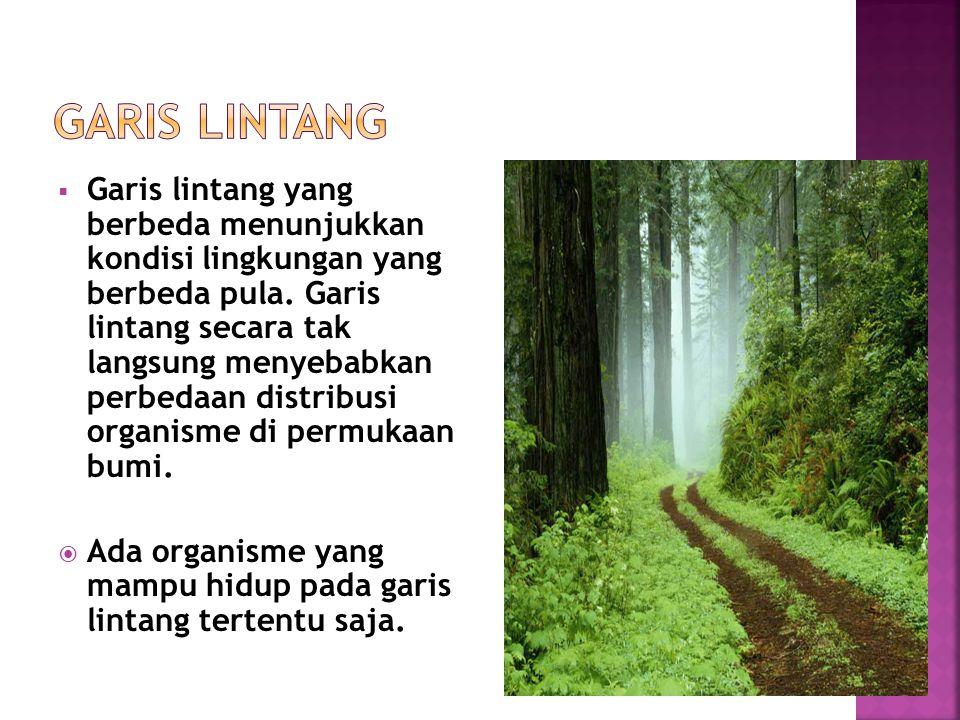  Garis lintang yang berbeda menunjukkan kondisi lingkungan yang berbeda pula. Garis lintang secara tak langsung menyebabkan perbedaan distribusi orga