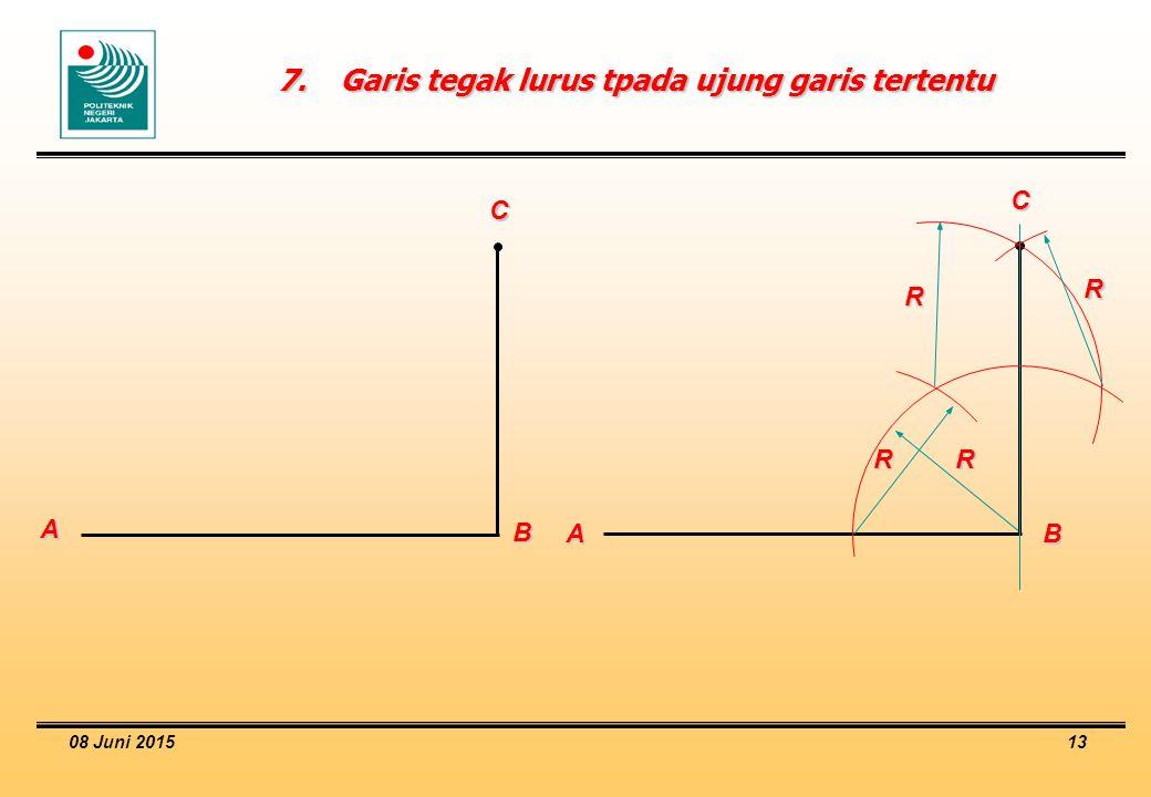 08 Juni 2015 13 7.Garis tegak lurus tpada ujung garis tertentu A B C A B C R R R R