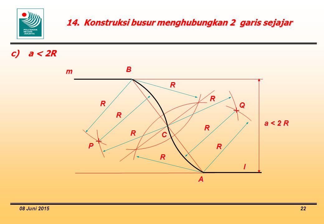 08 Juni 2015 22 14.Konstruksi busur menghubungkan 2 garis sejajar c)a < 2R a < 2 R m l A B C R R P Q R R R R R R