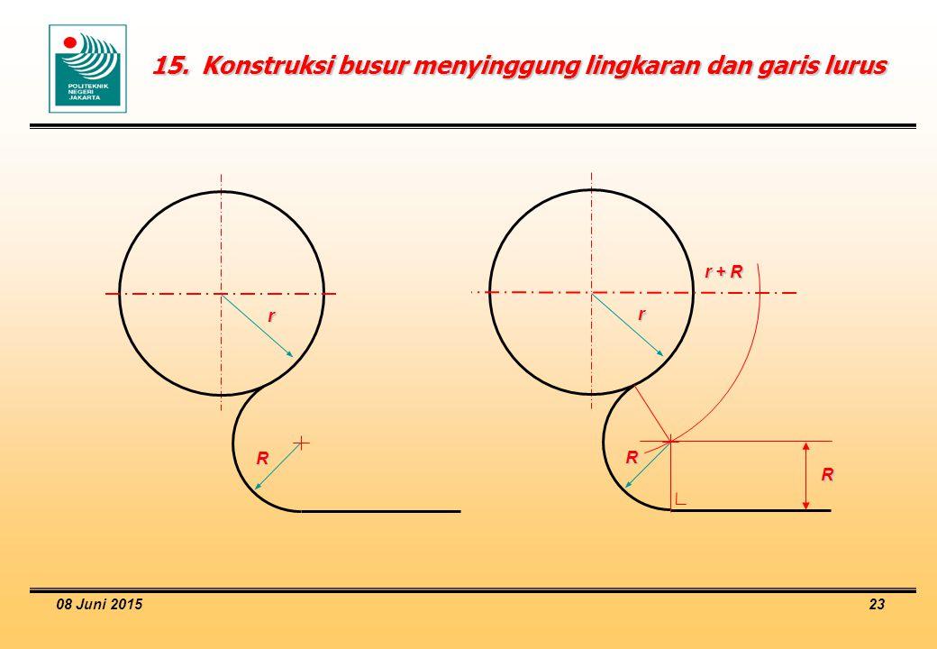 08 Juni 2015 23 15.Konstruksi busur menyinggung lingkaran dan garis lurus R r R R r + R r