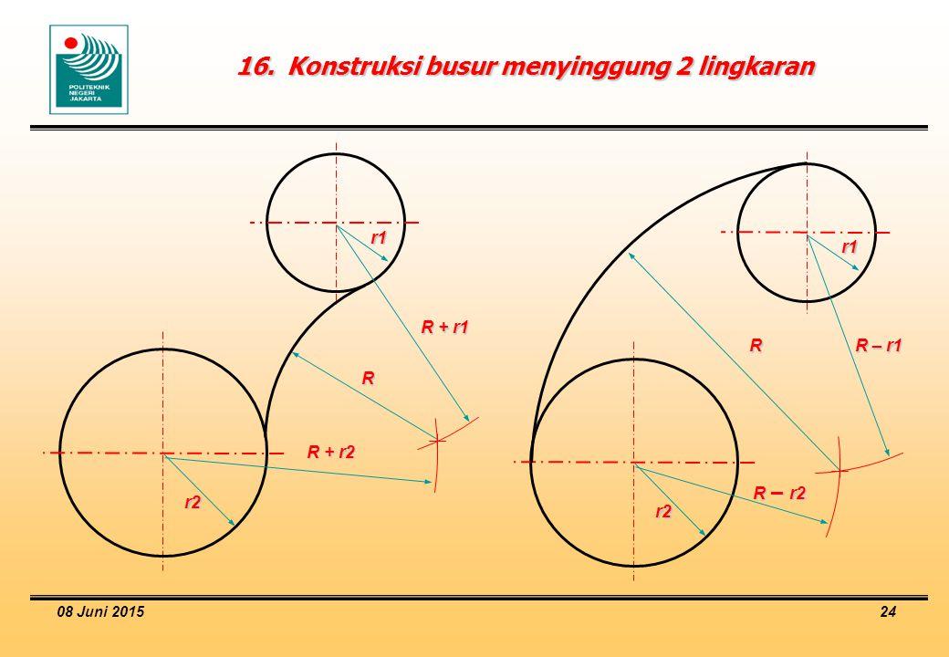 08 Juni 2015 24 16.Konstruksi busur menyinggung 2 lingkaran R + r1 r2 r1 R R + r2 R – r1 r2 r1 R R – r2