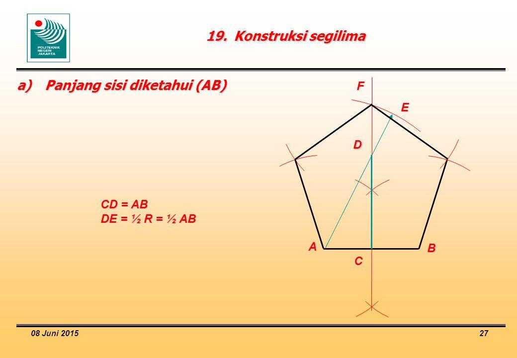 08 Juni 2015 27 19.Konstruksi segilima A B C E F D a)Panjang sisi diketahui (AB) CD = AB DE = ½ R = ½ AB
