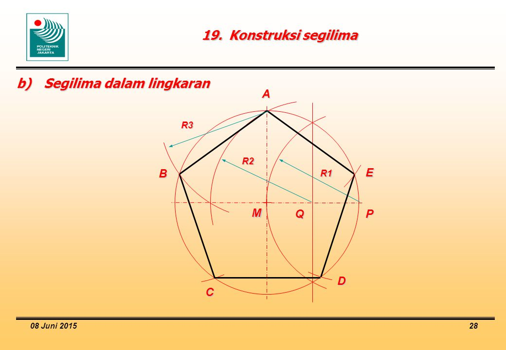 08 Juni 2015 28 19.Konstruksi segilima M b)Segilima dalam lingkaran R1 PQ A B C D E R2 R3