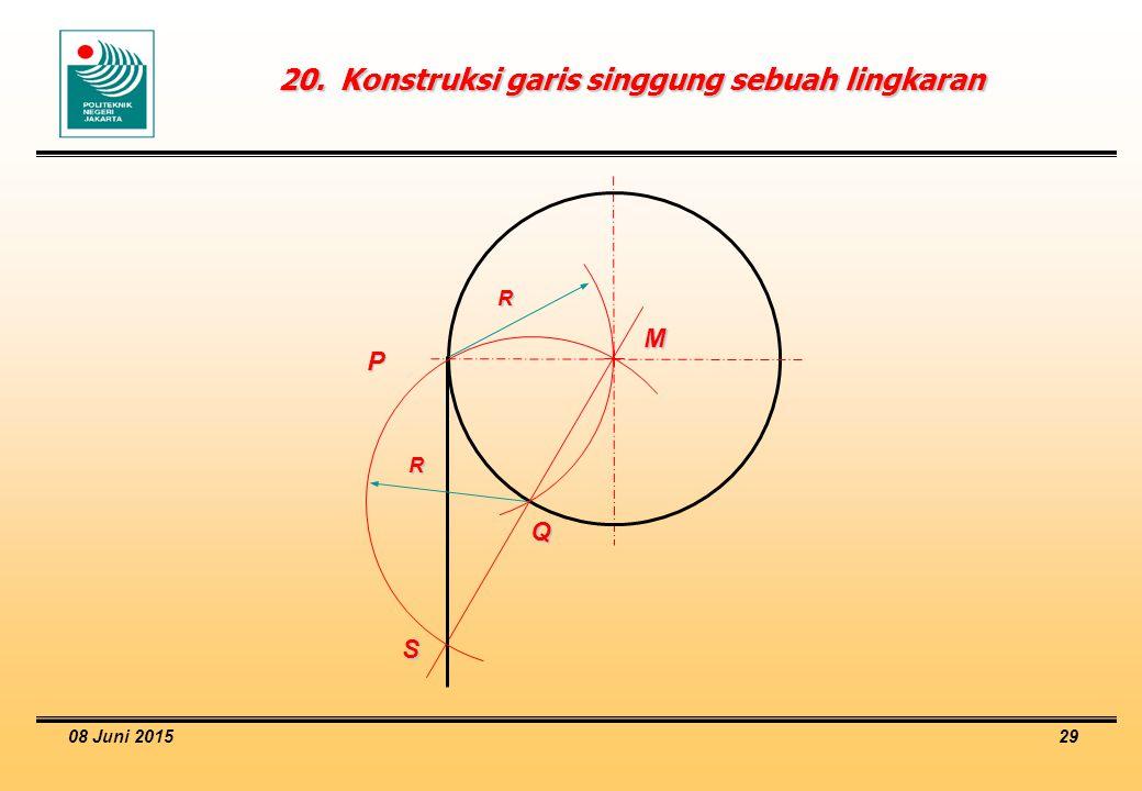 08 Juni 2015 29 20.Konstruksi garis singgung sebuah lingkaran M P Q S R R