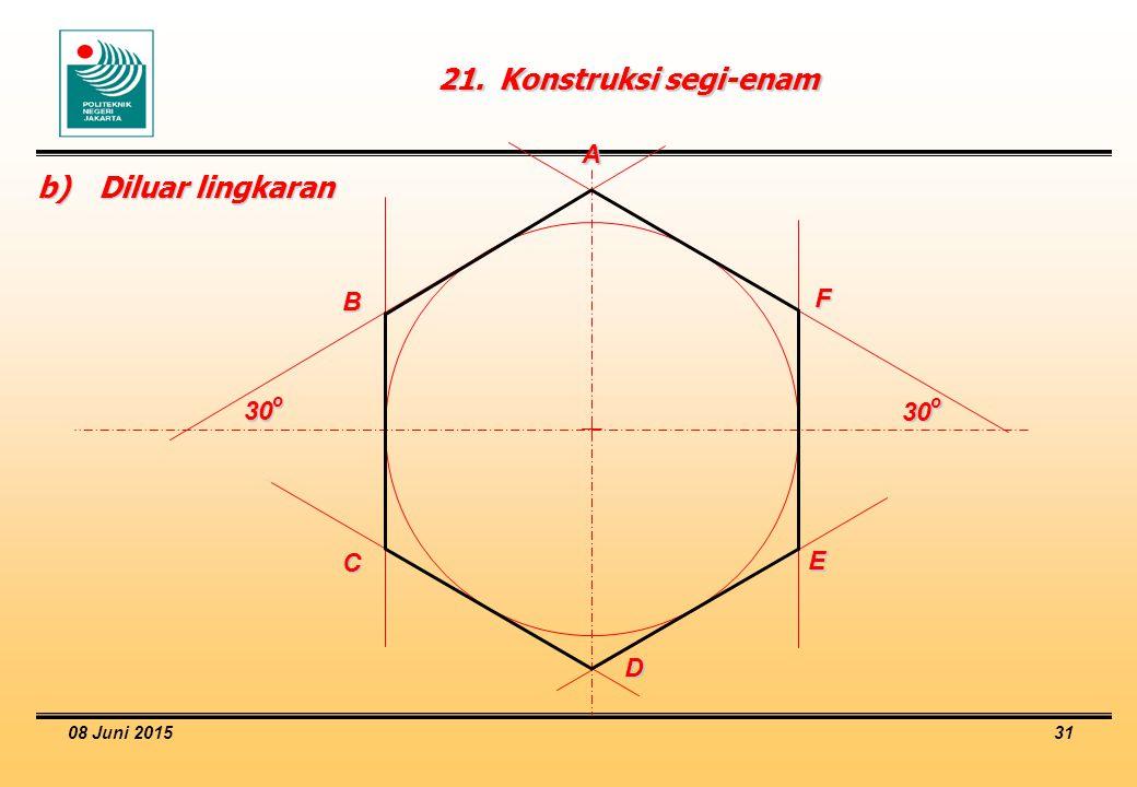 08 Juni 2015 31 21.Konstruksi segi-enam b)Diluar lingkaran 30 o A B C D E F