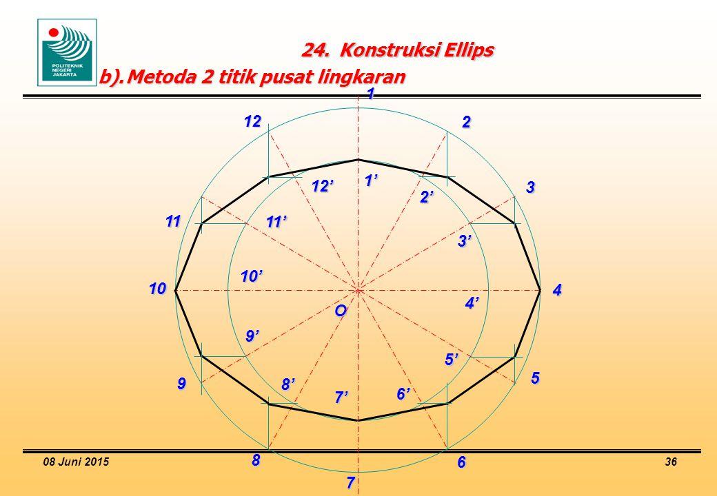 08 Juni 2015 36 24.Konstruksi Ellips b).Metoda 2 titik pusat lingkaran O 1' 1 2' 2 3' 3 4' 4 5' 5 6' 6 7' 7 8' 8 9' 9 10' 10 11' 11 12' 12