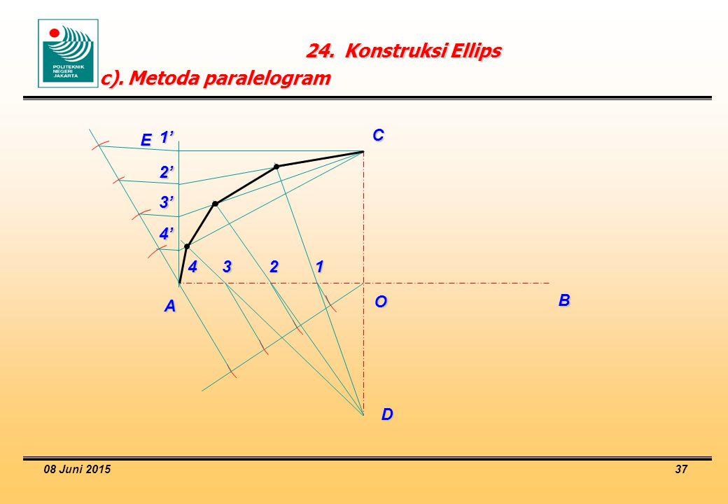 08 Juni 2015 37 24.Konstruksi Ellips c).Metoda paralelogram O A B C D E 1234 1' 2' 3' 4'