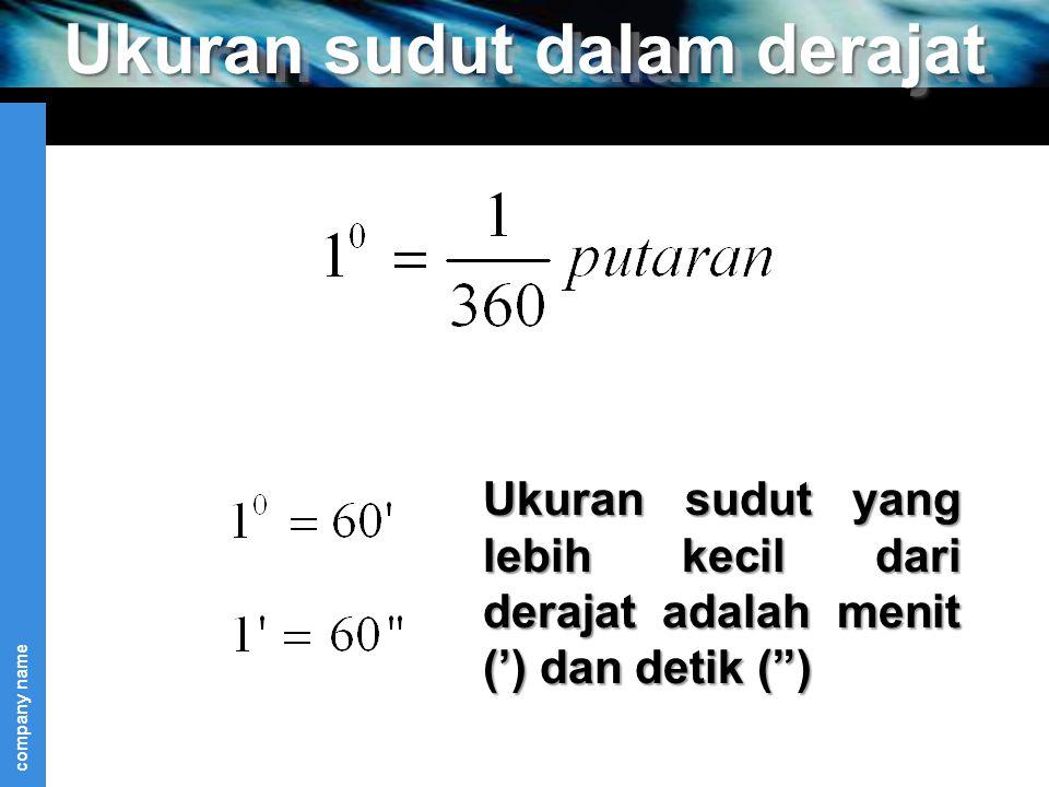 """company name Ukuran sudut dalam derajat Ukuran sudut yang lebih kecil dari derajat adalah menit (') dan detik ("""")"""