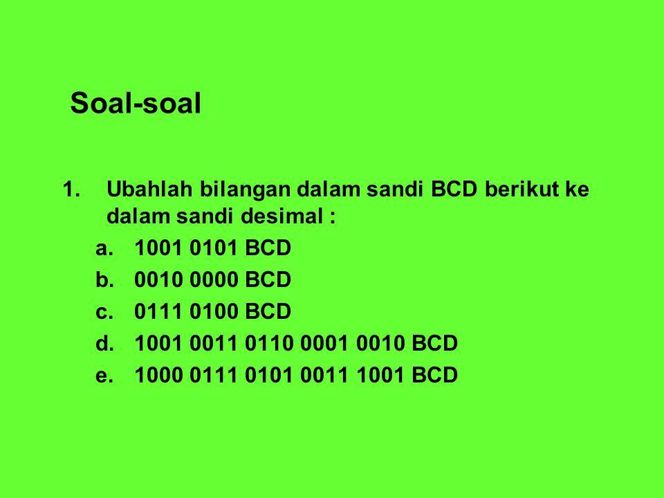 Soal-soal 1. Ubahlah bilangan dalam sandi BCD berikut ke dalam sandi desimal : a.1001 0101 BCD b.0010 0000 BCD c.0111 0100 BCD d.1001 0011 0110 0001 0