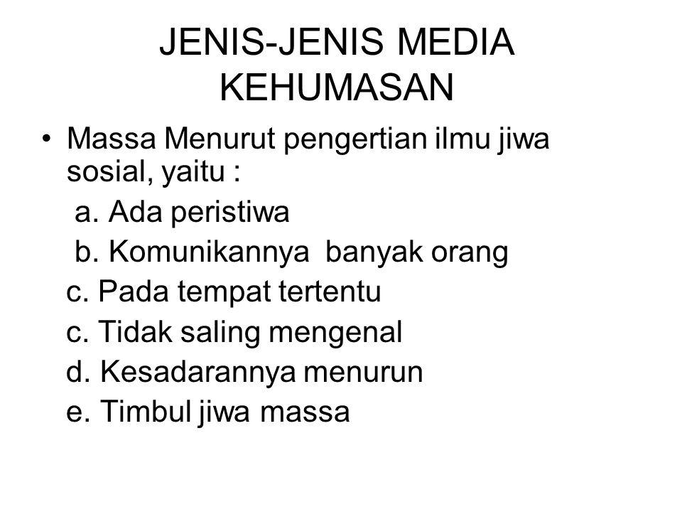 JENIS-JENIS MEDIA KEHUMASAN Massa Menurut pengertian ilmu jiwa sosial, yaitu : a.