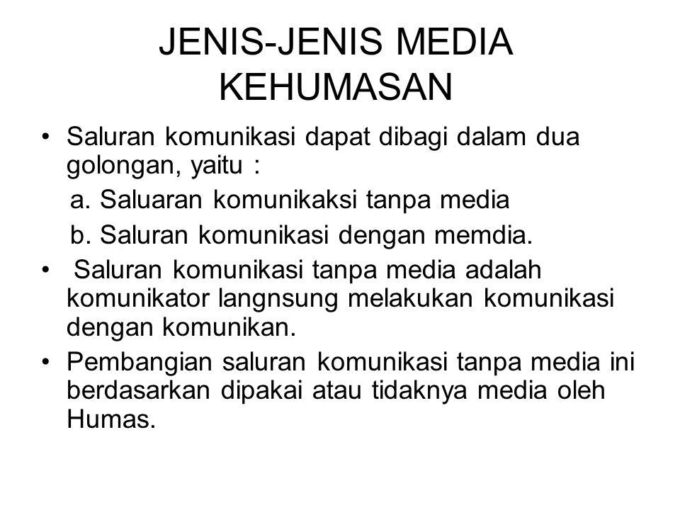JENIS-JENIS MEDIA KEHUMASAN Saluran komunikasi dapat dibagi dalam dua golongan, yaitu : a.