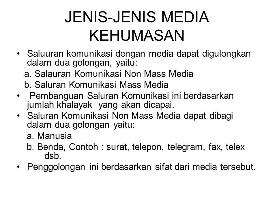 JENIS-JENIS MEDIA KEHUMASAN Saluuran komunikasi dengan media dapat digulongkan dalam dua golongan, yaitu: a.