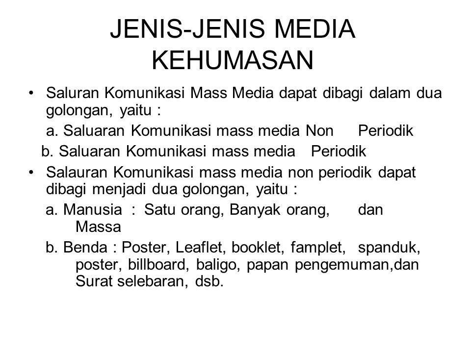 JENIS-JENIS MEDIA KEHUMASAN Saluran Komunikasi Mass Media dapat dibagi dalam dua golongan, yaitu : a.