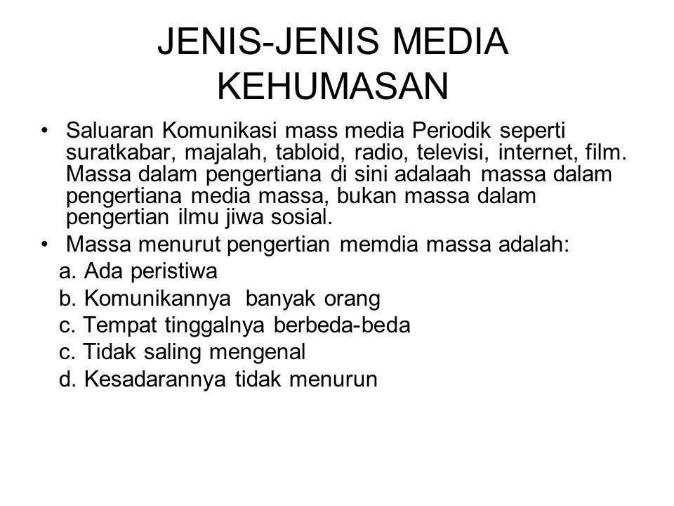 JENIS-JENIS MEDIA KEHUMASAN Saluaran Komunikasi mass media Periodik seperti suratkabar, majalah, tabloid, radio, televisi, internet, film.