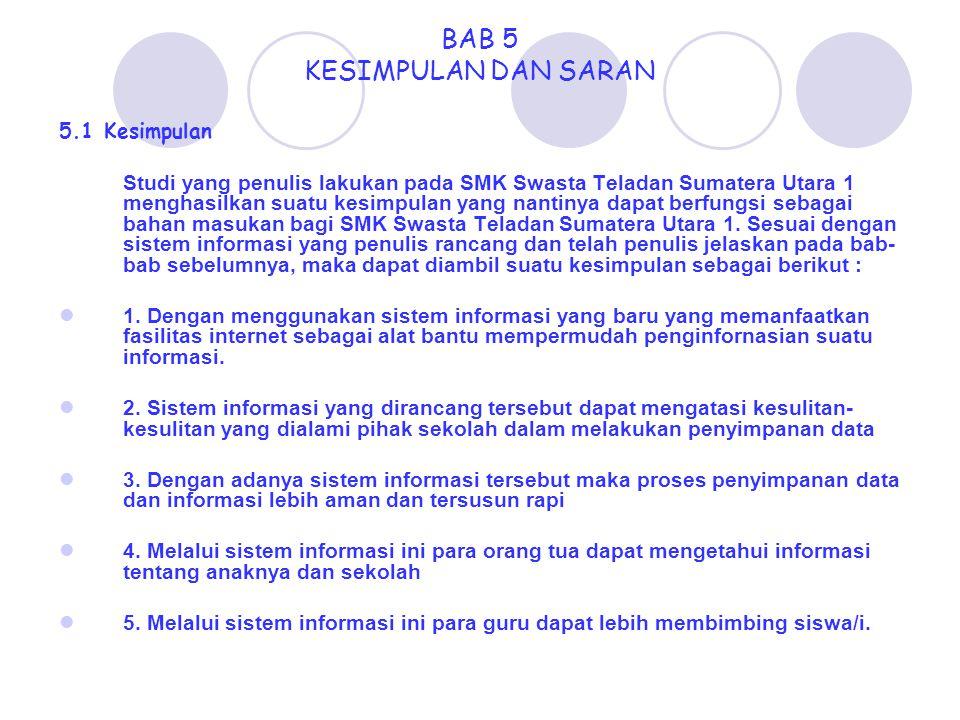 BAB 5 KESIMPULAN DAN SARAN 5.1 Kesimpulan Studi yang penulis lakukan pada SMK Swasta Teladan Sumatera Utara 1 menghasilkan suatu kesimpulan yang nanti