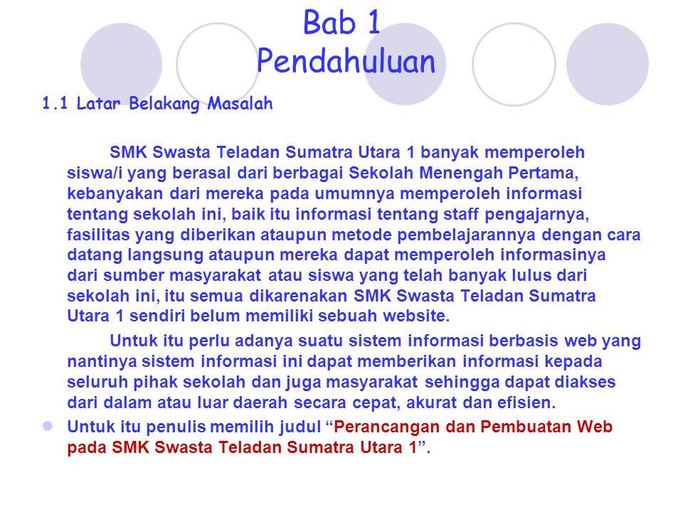 Bab 1 Pendahuluan 1.1 Latar Belakang Masalah SMK Swasta Teladan Sumatra Utara 1 banyak memperoleh siswa/i yang berasal dari berbagai Sekolah Menengah