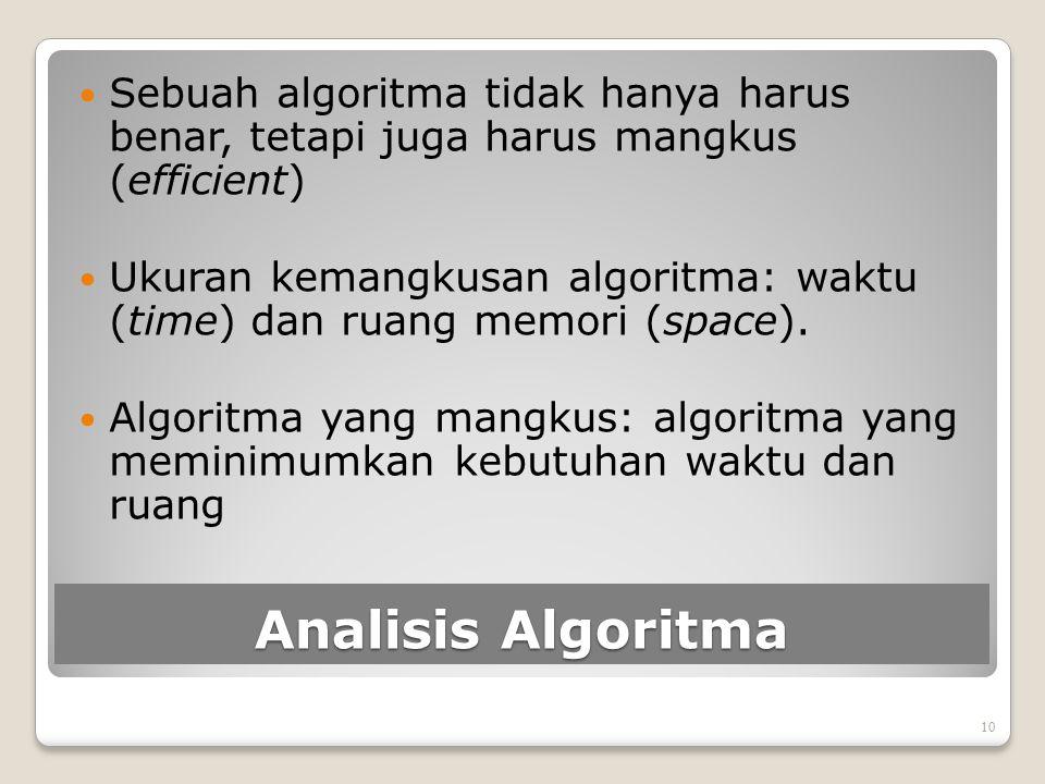 Analisis Algoritma Sebuah algoritma tidak hanya harus benar, tetapi juga harus mangkus (efficient) Ukuran kemangkusan algoritma: waktu (time) dan ruan