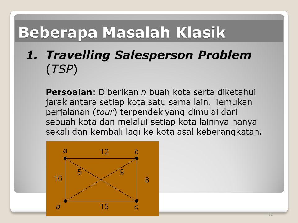 Beberapa Masalah Klasik 1.Travelling Salesperson Problem (TSP) Persoalan: Diberikan n buah kota serta diketahui jarak antara setiap kota satu sama lai
