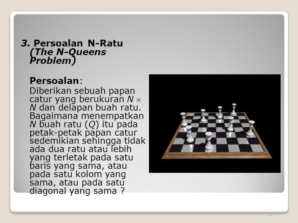 3. Persoalan N-Ratu (The N-Queens Problem) Persoalan: Diberikan sebuah papan catur yang berukuran N  N dan delapan buah ratu. Bagaimana menempatkan N