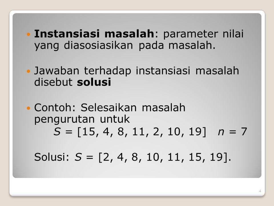 Instansiasi masalah: parameter nilai yang diasosiasikan pada masalah. Jawaban terhadap instansiasi masalah disebut solusi Contoh: Selesaikan masalah p
