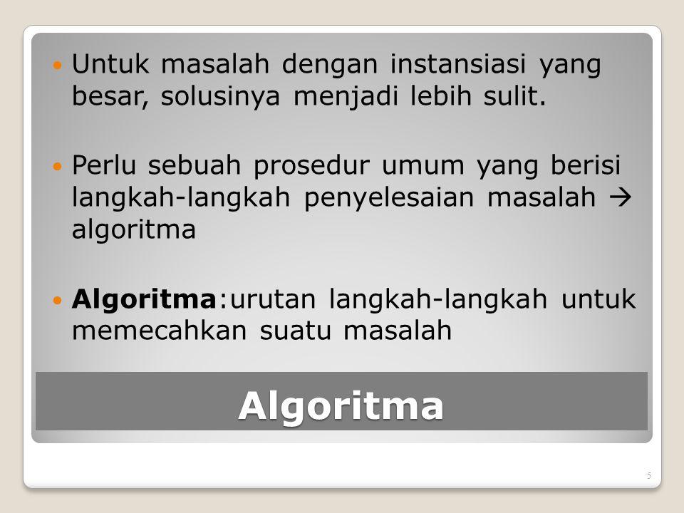 Algoritma Untuk masalah dengan instansiasi yang besar, solusinya menjadi lebih sulit. Perlu sebuah prosedur umum yang berisi langkah-langkah penyelesa