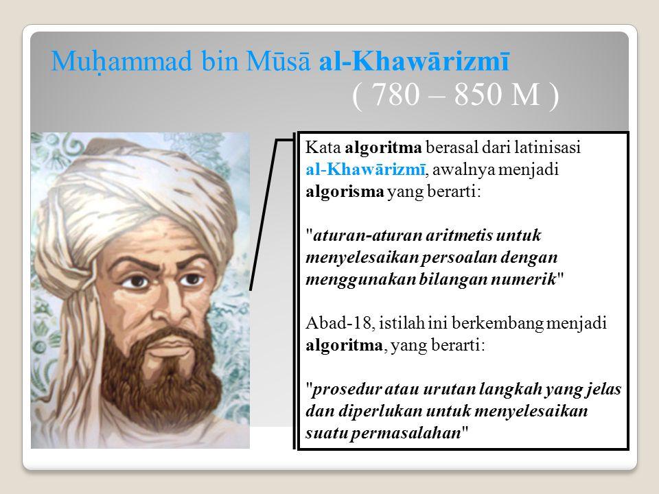 Kata algoritma berasal dari latinisasi al-Khawārizmī, awalnya menjadi algorisma yang berarti: