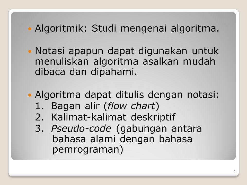 Analisis Algoritma Sebuah algoritma tidak hanya harus benar, tetapi juga harus mangkus (efficient) Ukuran kemangkusan algoritma: waktu (time) dan ruang memori (space).