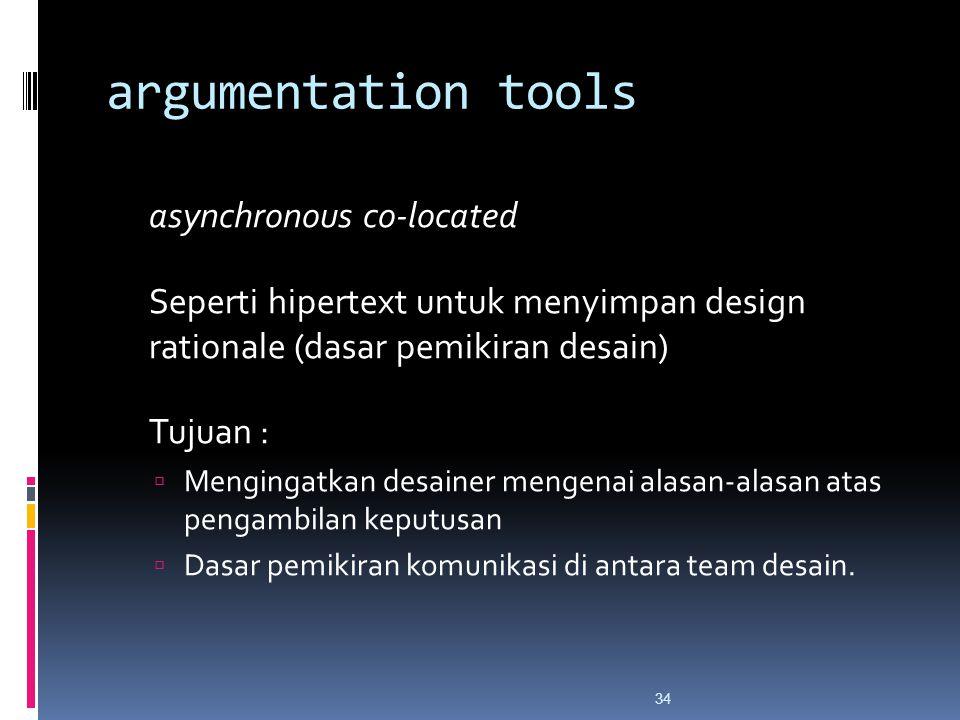 argumentation tools asynchronous co-located Seperti hipertext untuk menyimpan design rationale (dasar pemikiran desain) Tujuan :  Mengingatkan desainer mengenai alasan-alasan atas pengambilan keputusan  Dasar pemikiran komunikasi di antara team desain.