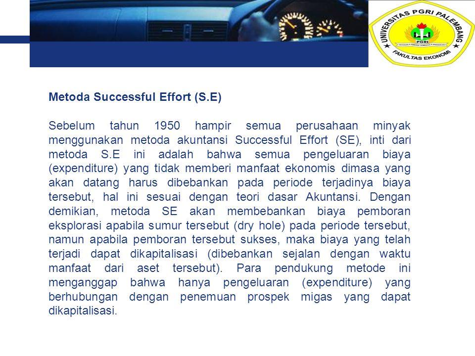 L o g o Metoda Successful Effort (S.E) Sebelum tahun 1950 hampir semua perusahaan minyak menggunakan metoda akuntansi Successful Effort (SE), inti dar
