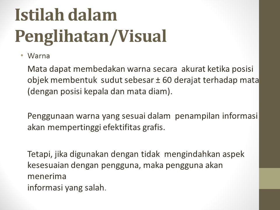 Istilah dalam Penglihatan/Visual Warna Mata dapat membedakan warna secara akurat ketika posisi objek membentuksudut sebesar ± 60 derajat terhadap mata