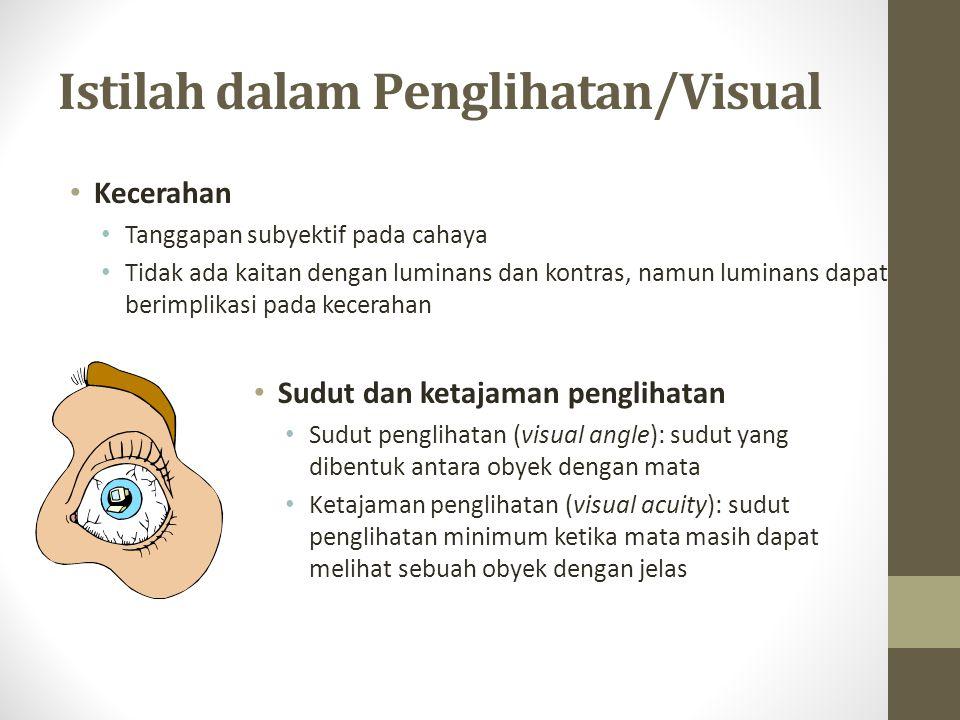 Istilah dalam Penglihatan/Visual Medan penglihatan: sudut yang dibentuk ketika mata bergerak ke kiri terjauh dan ke kanan terjauh Daerah I, penglihatan binokuler Daerah II, penglihatan monokuler kiri Daerah III, penglihatan monokuler kanan Daerah IV, daerah buta I IIIII IV 62-70 94-104