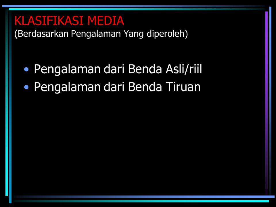 KLASIFIKASI MEDIA (Berdasarkan Keberadaannya)  Media yang ada di dalam kelas  Media yang ada di luar kelas