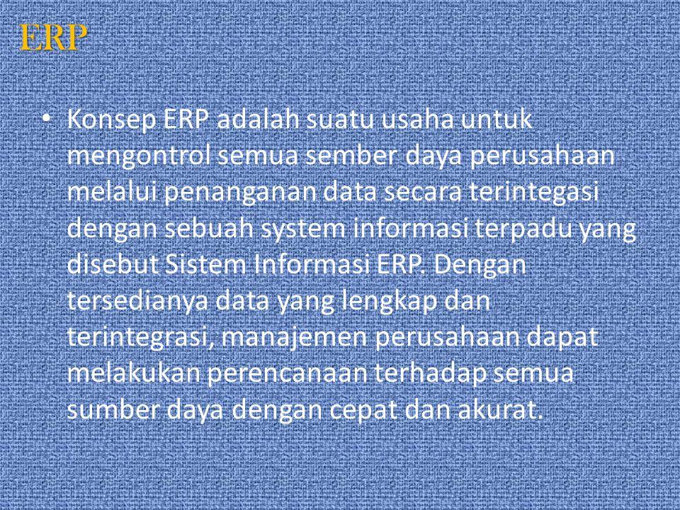 ERP Konsep ERP adalah suatu usaha untuk mengontrol semua sember daya perusahaan melalui penanganan data secara terintegasi dengan sebuah system inform