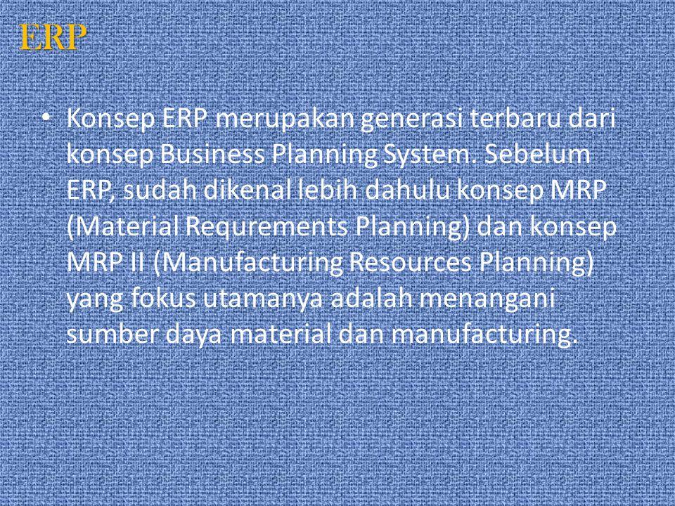 ERP ERP mengintegrasi semua sumber daya, meliputi material management, manufacturing, planning, sales, engineering, accounting, distribution, order processing, human resources, purchasing, dan lain-lain.