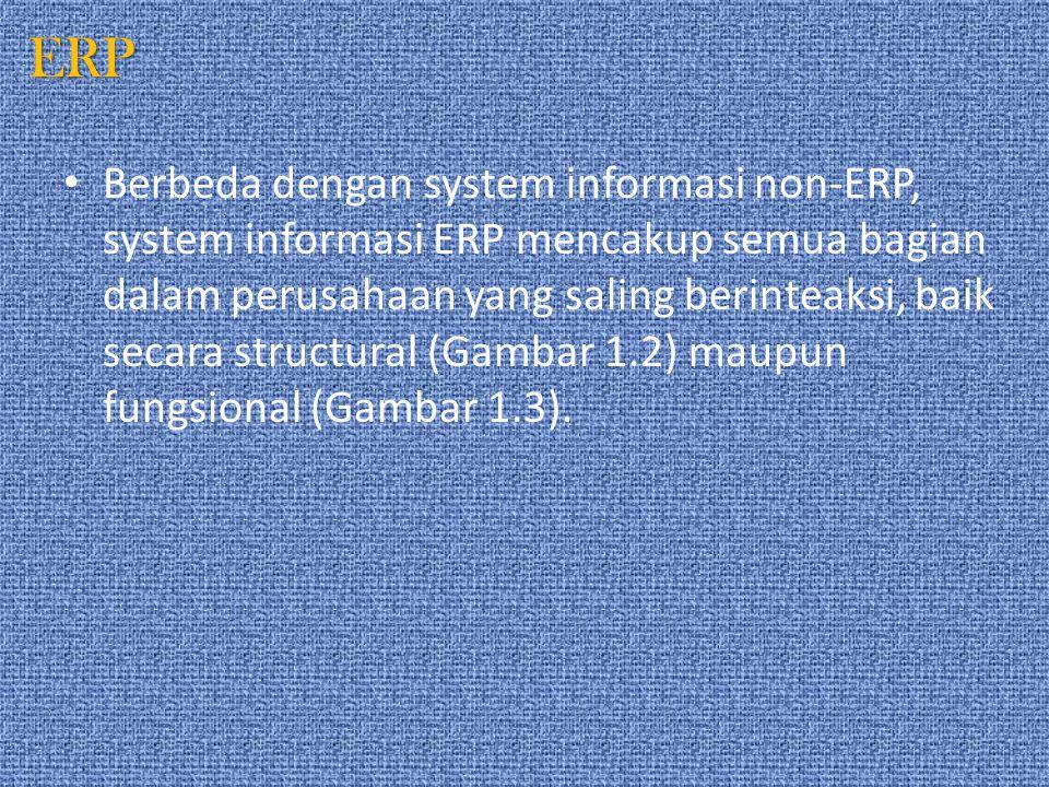 ERP Berbeda dengan system informasi non-ERP, system informasi ERP mencakup semua bagian dalam perusahaan yang saling berinteaksi, baik secara structur