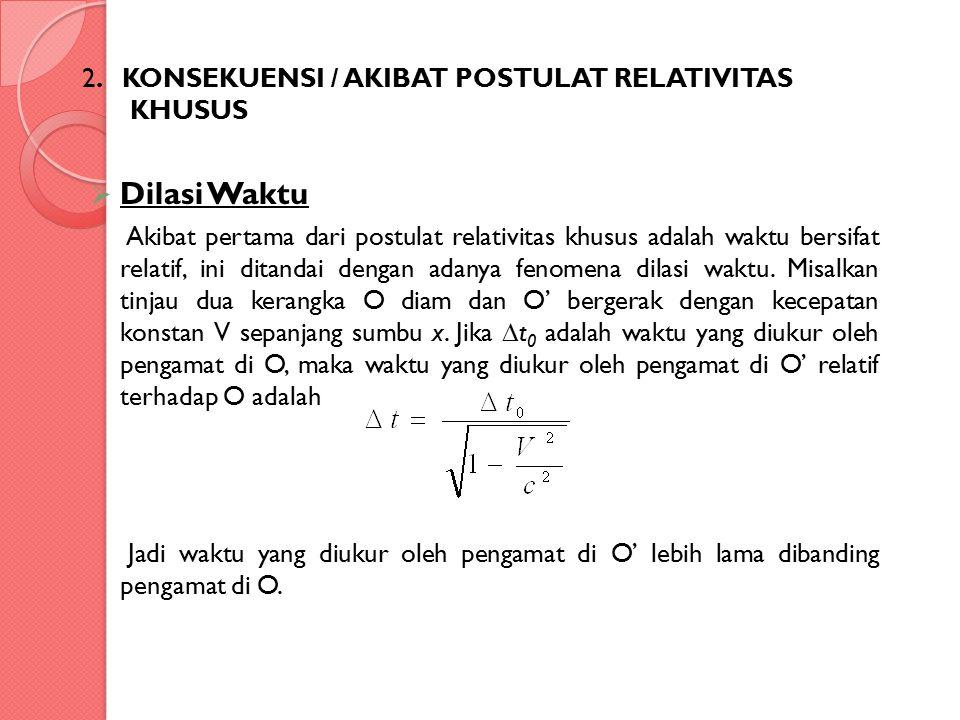 2. KONSEKUENSI / AKIBAT POSTULAT RELATIVITAS KHUSUS  Dilasi Waktu Akibat pertama dari postulat relativitas khusus adalah waktu bersifat relatif, ini