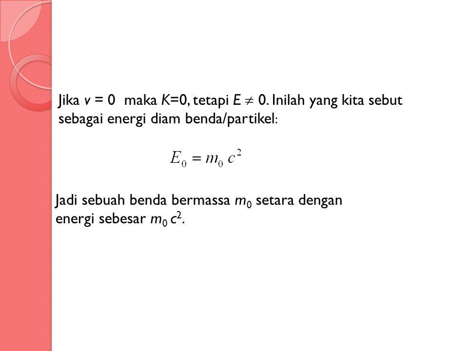 Jika v = 0 maka K=0, tetapi E  0. Inilah yang kita sebut sebagai energi diam benda/partikel : Jadi sebuah benda bermassa m 0 setara dengan energi seb