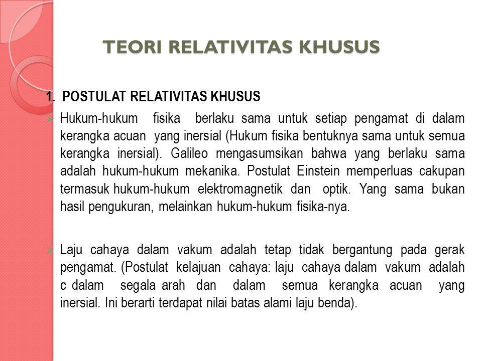TEORI RELATIVITAS KHUSUS 1. POSTULAT RELATIVITAS KHUSUS  Hukum-hukum fisika berlaku sama untuk setiap pengamat di dalam kerangka acuan yang inersial
