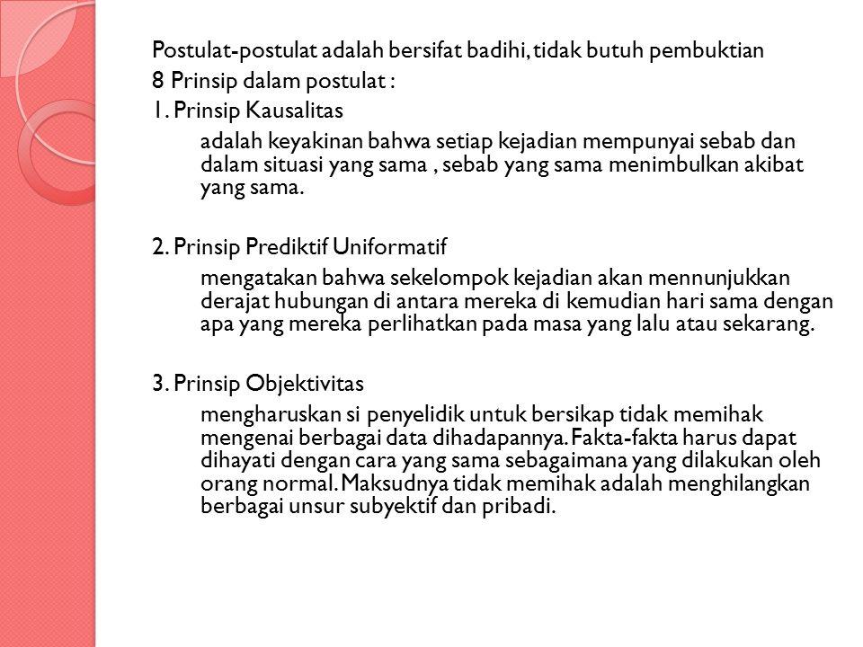 Postulat-postulat adalah bersifat badihi, tidak butuh pembuktian 8 Prinsip dalam postulat : 1. Prinsip Kausalitas adalah keyakinan bahwa setiap kejadi