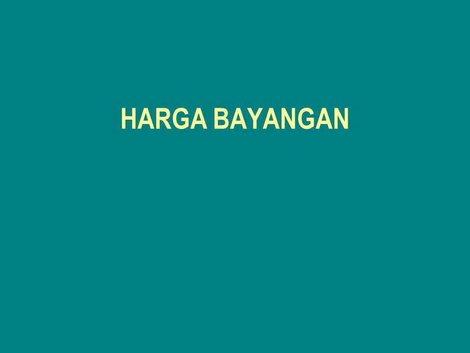 6.Harga Bayangan Sarana Produksi –Harga bayangan pupuk buatan didasarkan pada asumsi bahwa sekalipun sebagian besar telah diproduksi di dalam negeri, namun masih menggunakan komponen yang bersumber dari luar.