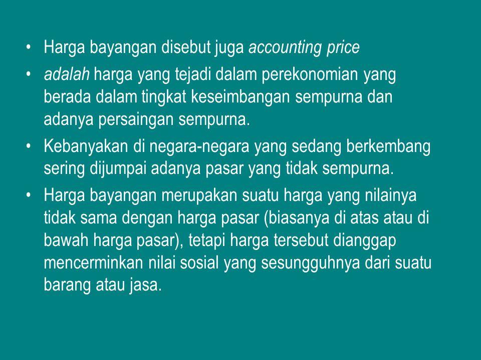 Harga bayangan disebut juga accounting price adalah harga yang tejadi dalam perekonomian yang berada dalam tingkat keseimbangan sempurna dan adanya pe