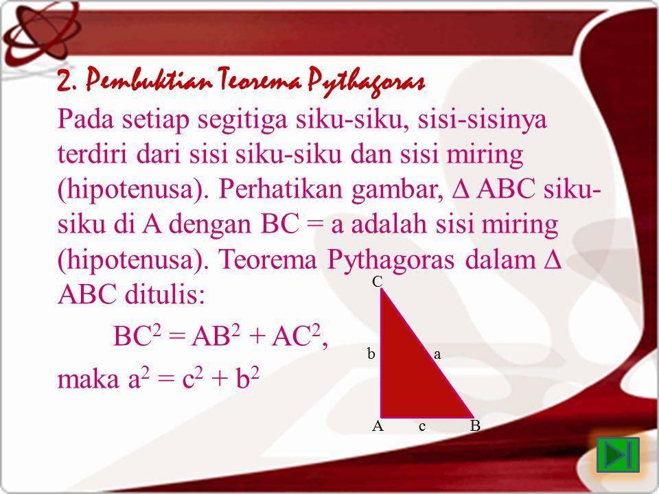 2. Pembuktian Teorema Pythagoras Pada setiap segitiga siku-siku, sisi-sisinya terdiri dari sisi siku-siku dan sisi miring (hipotenusa). Perhatikan gam