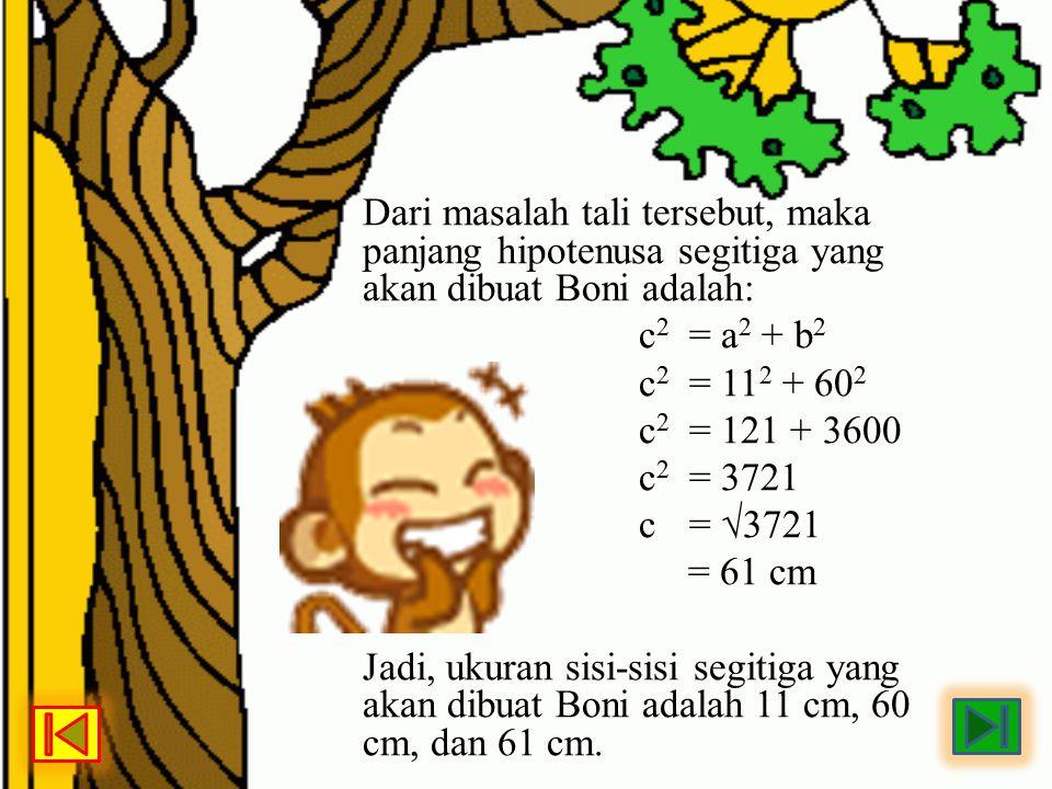 Dari masalah tali tersebut, maka panjang hipotenusa segitiga yang akan dibuat Boni adalah: c 2 = a 2 + b 2 c 2 = 11 2 + 60 2 c 2 = 121 + 3600 c 2 = 37