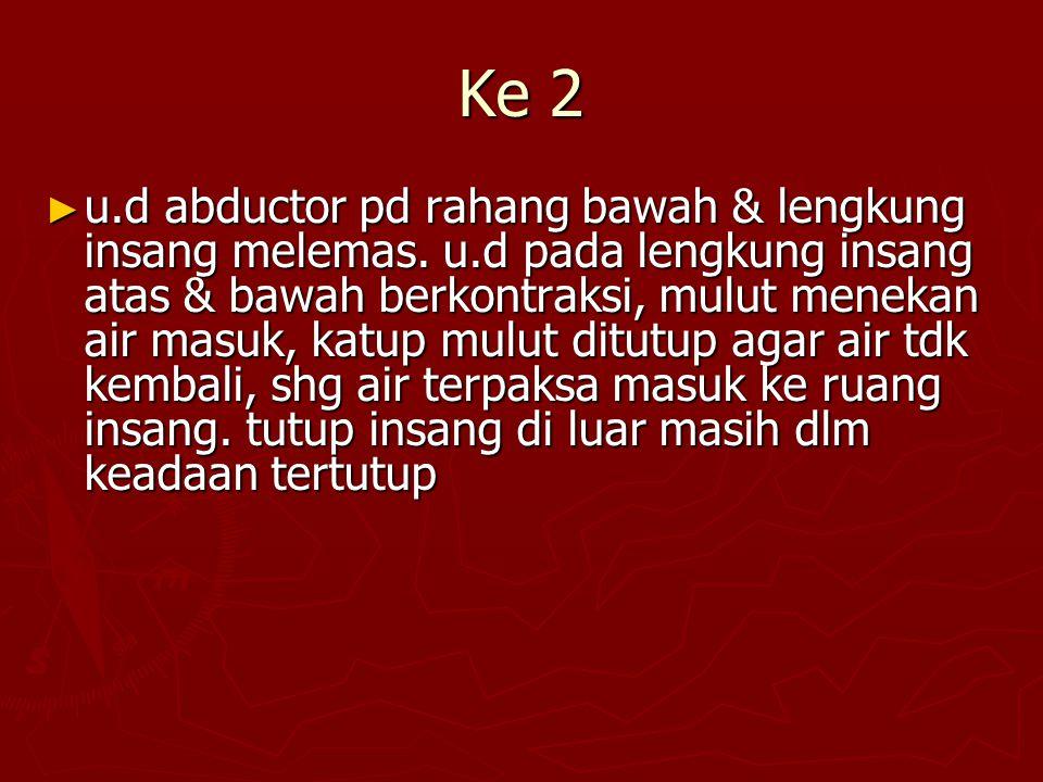 Ke 2 ► u.d abductor pd rahang bawah & lengkung insang melemas.