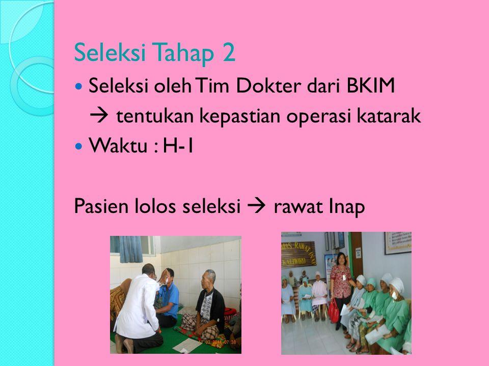 Seleksi Tahap 2 Seleksi oleh Tim Dokter dari BKIM  tentukan kepastian operasi katarak Waktu : H-1 Pasien lolos seleksi  rawat Inap