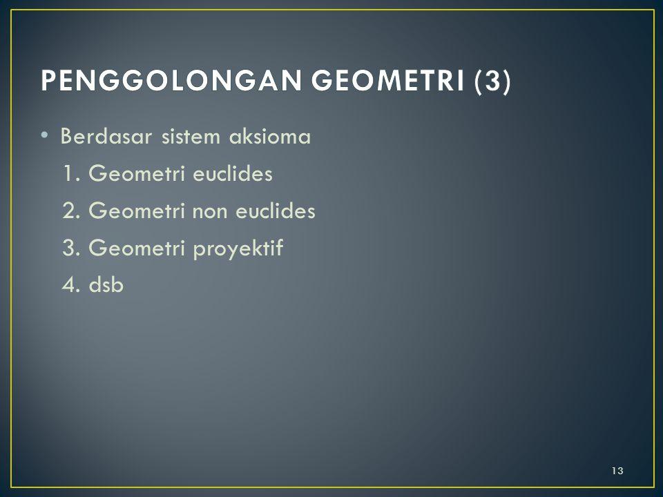 Berdasarkan bahasa 1. Geometri murni (dengan geometri/gambar) 2. Geometri analitik (dengan bahasa aljabar) 3. Geometri diferensial (dengan bahasa deri